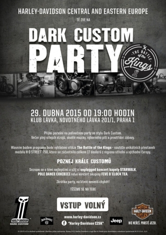 Dark Custom party Harley-Davidson se vstupem ZDARMA